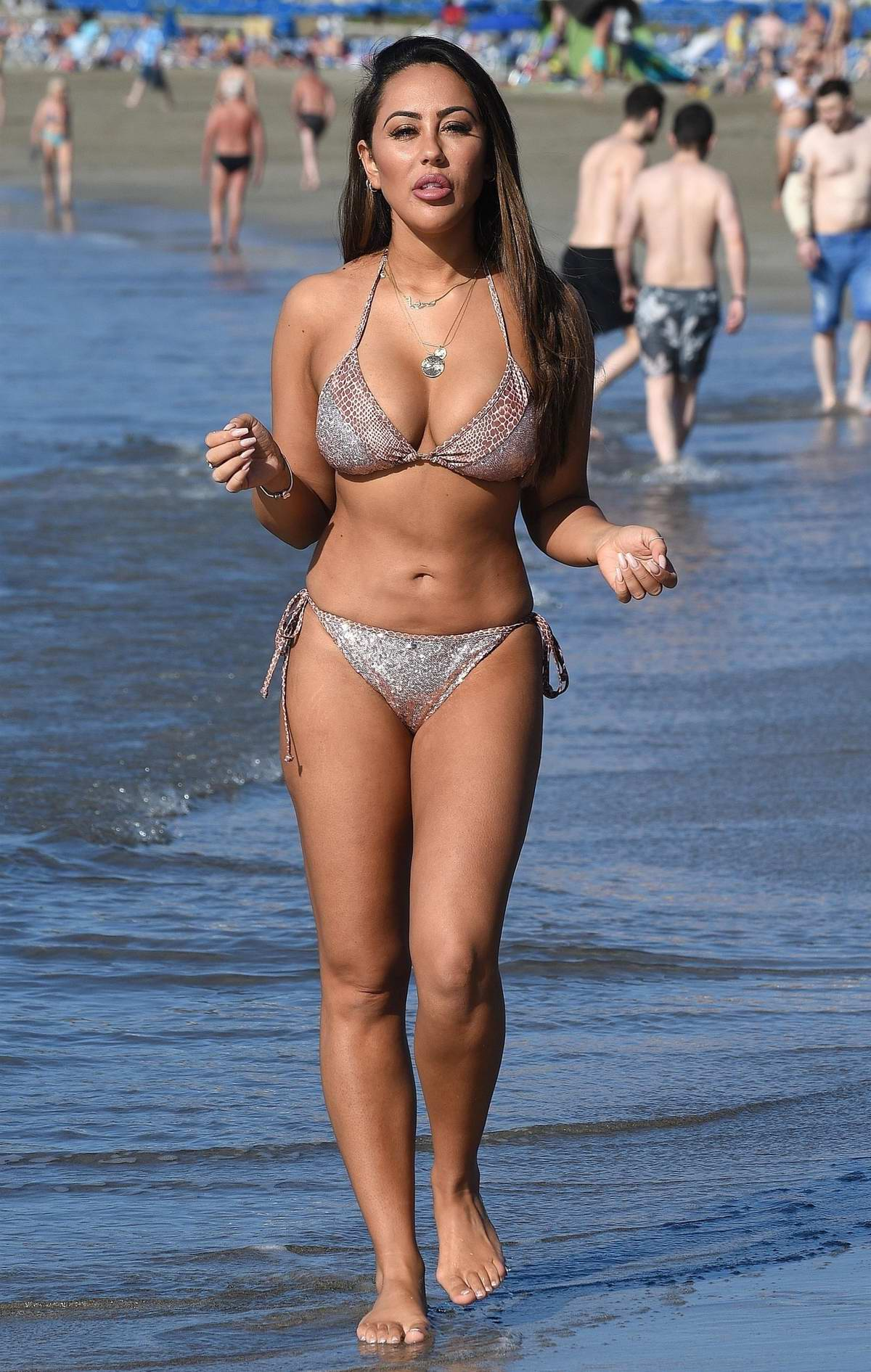 Sophie Kasaei is seen on holiday wearing a a bikini on the beach in Turkey