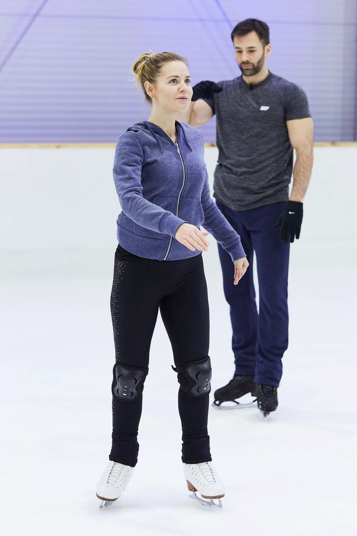Stephanie Waring during Dancing On Ice practice session in London