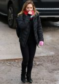 Stephanie Waring seen leaving an Silverblades Ice Rink in Altrincham, UK