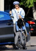 Vanessa Hudgens makes a visit to Nine Zero One Salon in West Hollywood, Los Angeles