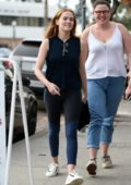 Zoey Deutch grabs lunch with some friends at Joan's On Third in Studio City, Los Angeles