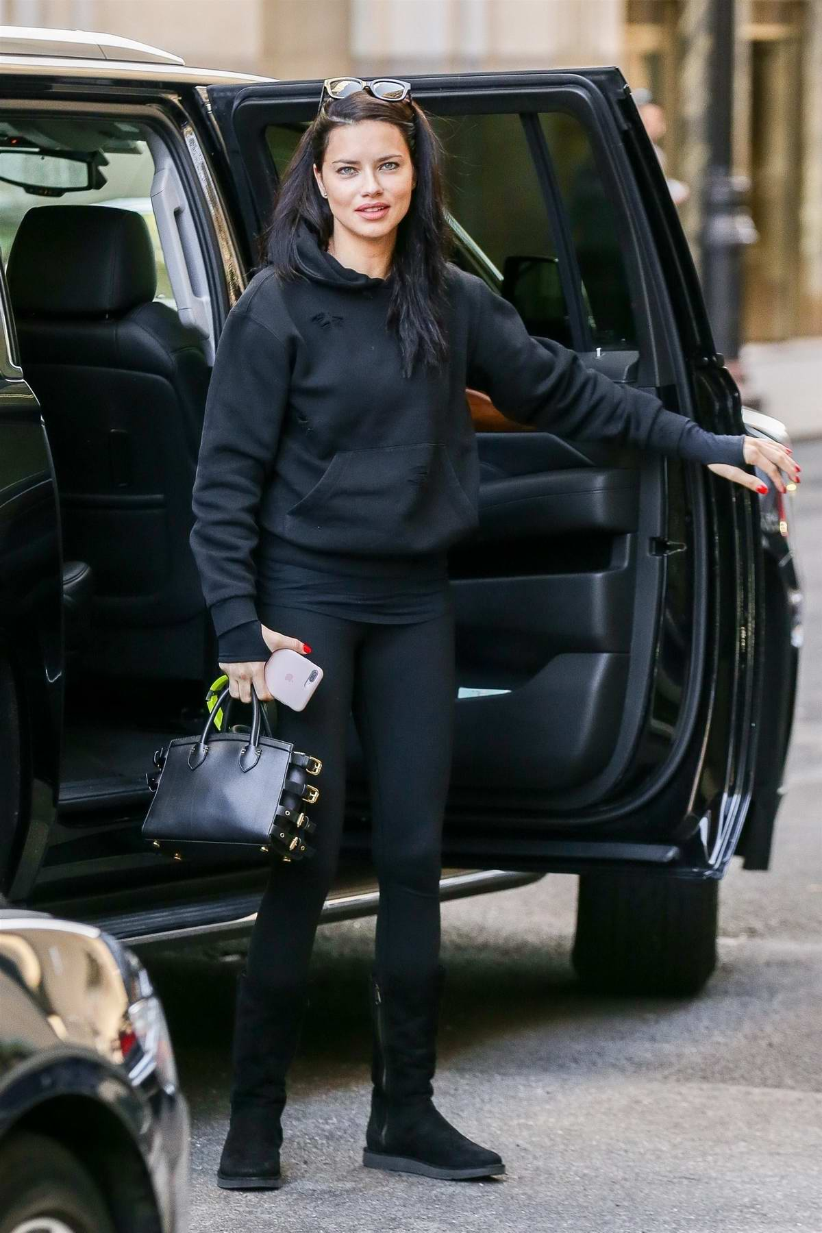 Adriana Lima Is Casual Cute In An All Black Outfit Seen