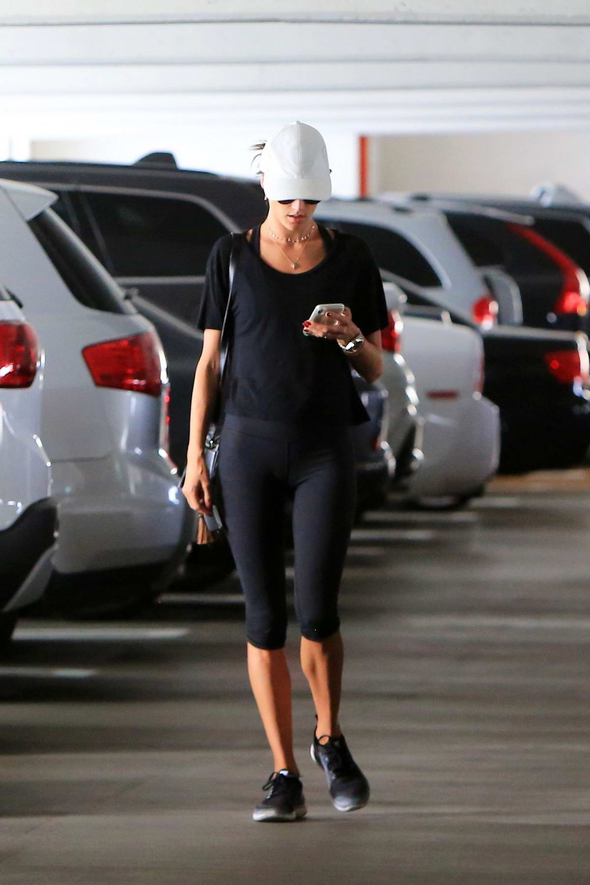 Alessandra Ambrosio spotted at a parking lot in Brentwood, Los Angeles