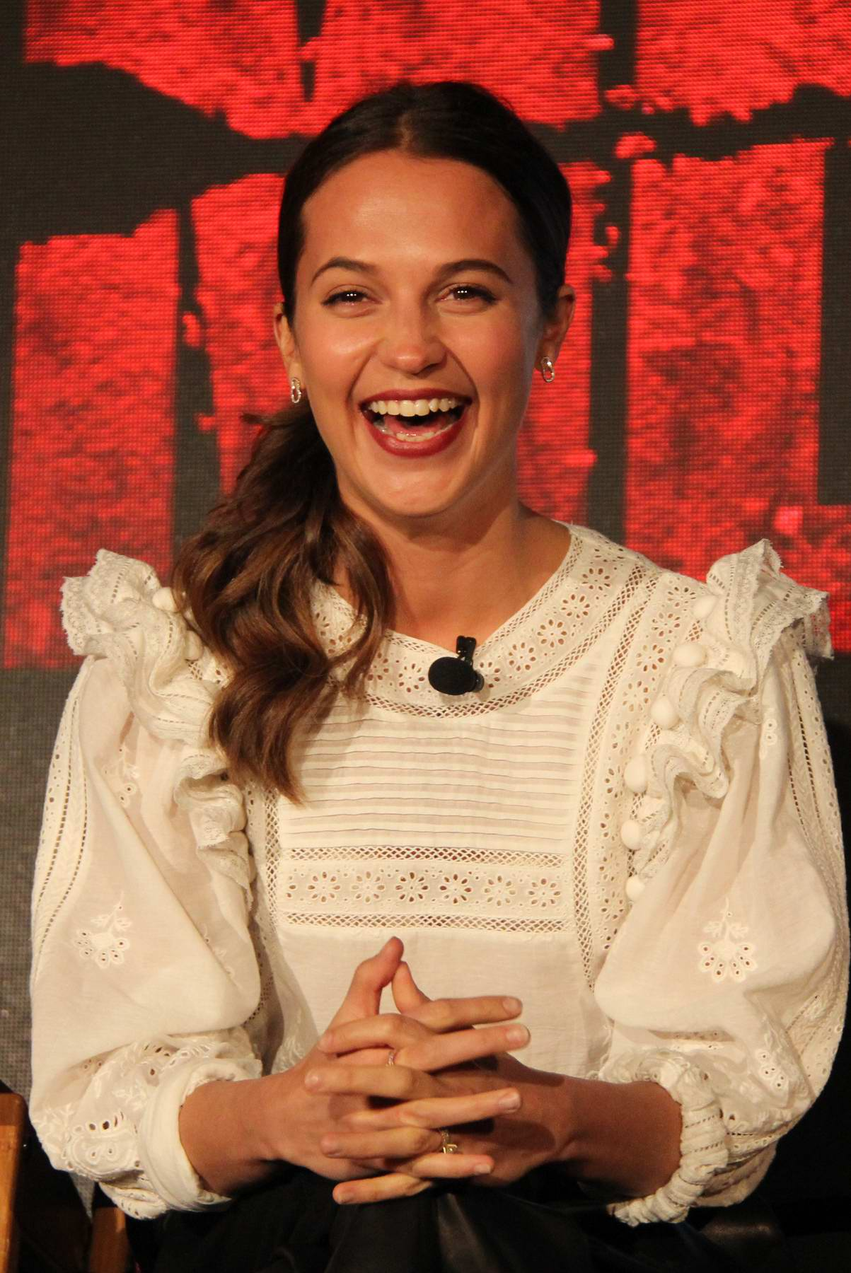 Alicia Vikander attends the 'Tomb Raider' Press Conference in Los Angeles