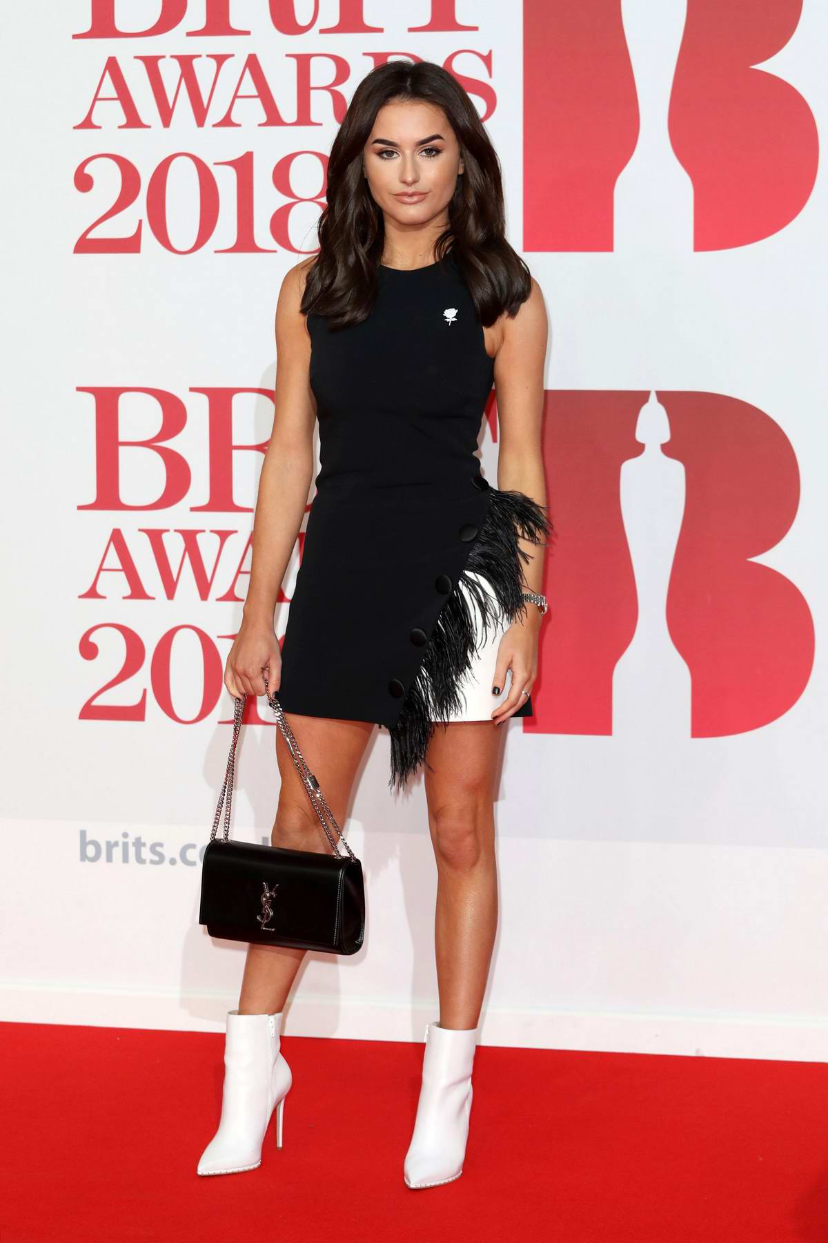 Amber Davies attends the 38th Brit Awards, held at the O2 Arena in London