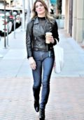 Ashley Greene wears a leather biker jacket and skinny jeans as she grabs lunch to-go at Judi's Deli in Beverly Hills, Los Angeles