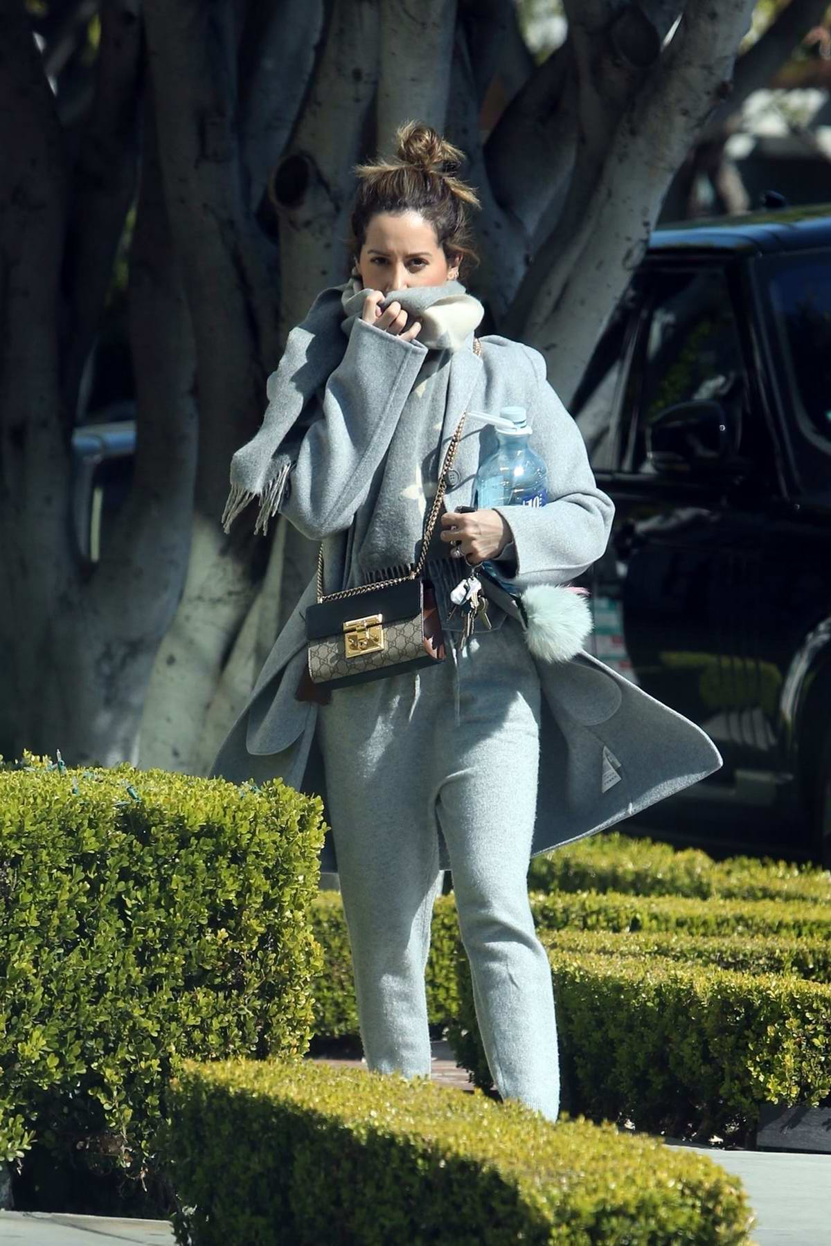 Ashley Tisdale bundles up on a chilly day as she heads to the hair salon in Los Angeles