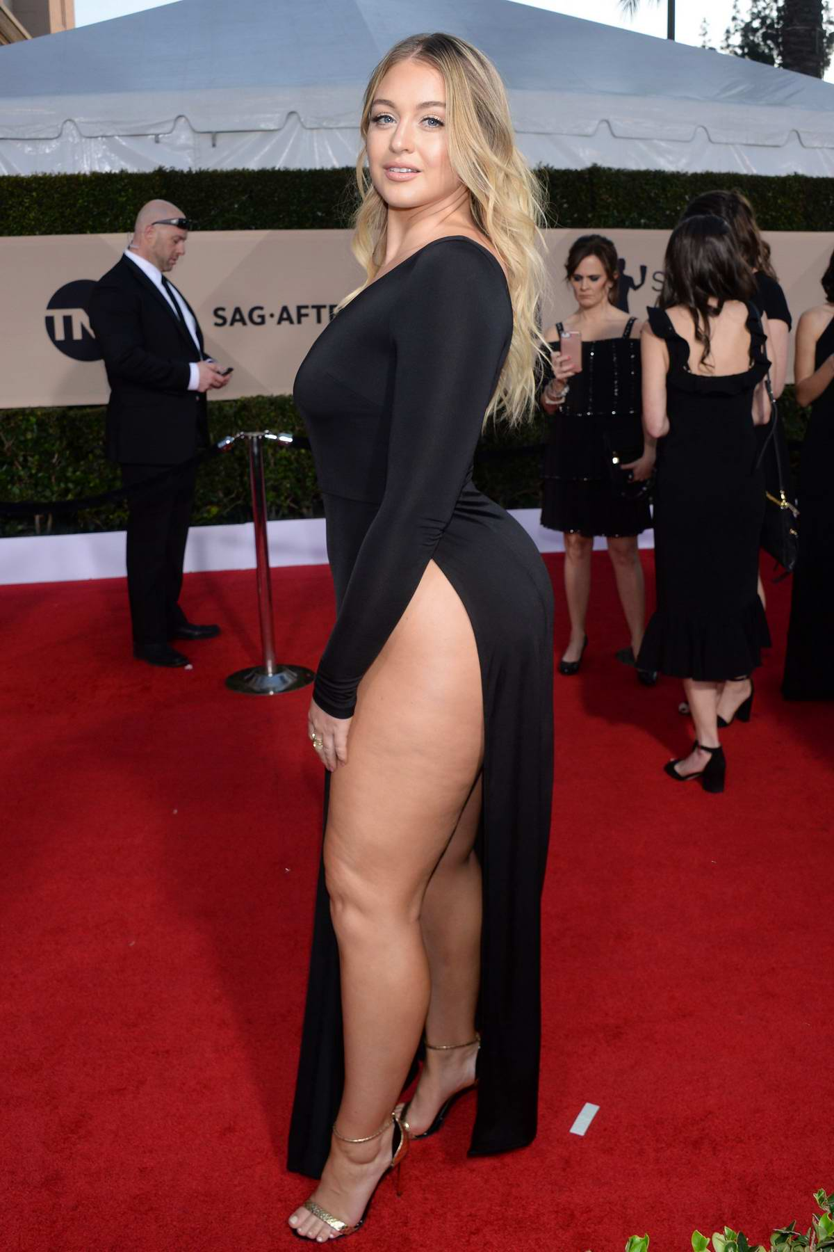 Iskra Lawrence attends the 24th Annual Screen Actors Guild (SAGs) Awards 2018 at The Shrine Auditorium in Los Angeles
