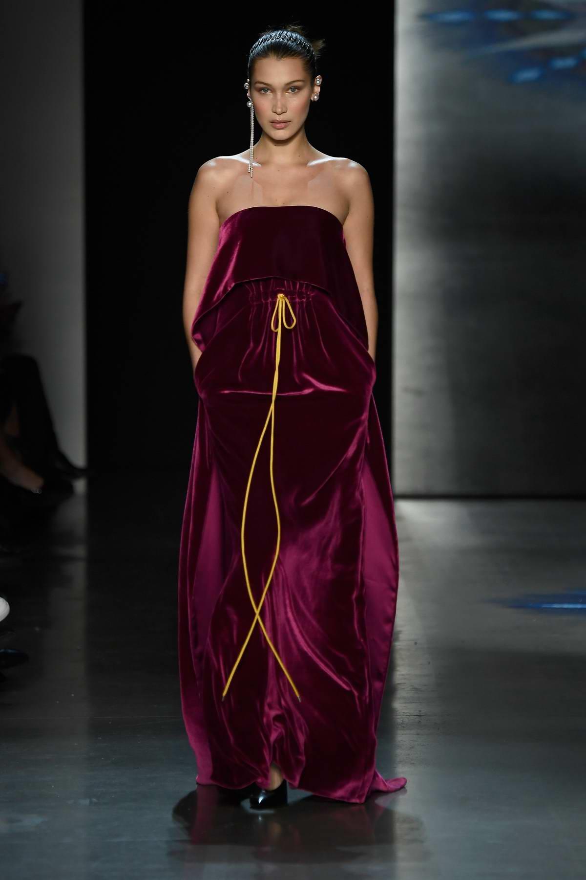 Bella Hadid walks for Prabal Gurung Show, Fall/Winter 2018 during New York Fashion Week in New York City