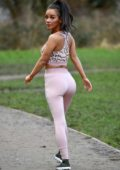 Chelsee Healey seen working out at the park in Manchester, UK