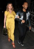 Chrissy Teigen and husband John Legend enjoys a dinner date at Madeo Restaurant in West Hollywood, Los Angeles