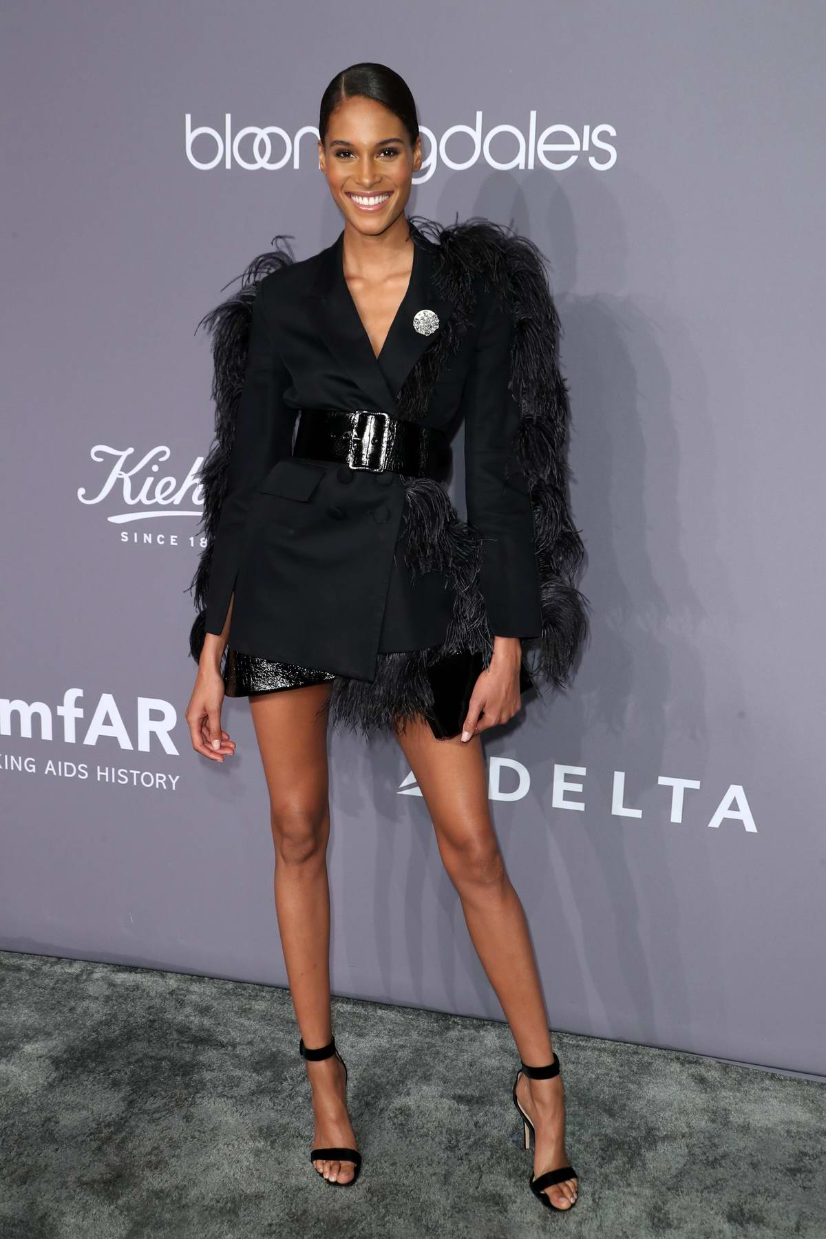 Cindy Bruna attends 2018 amfAR Gala New York at Cipriani Wall Street in New York City