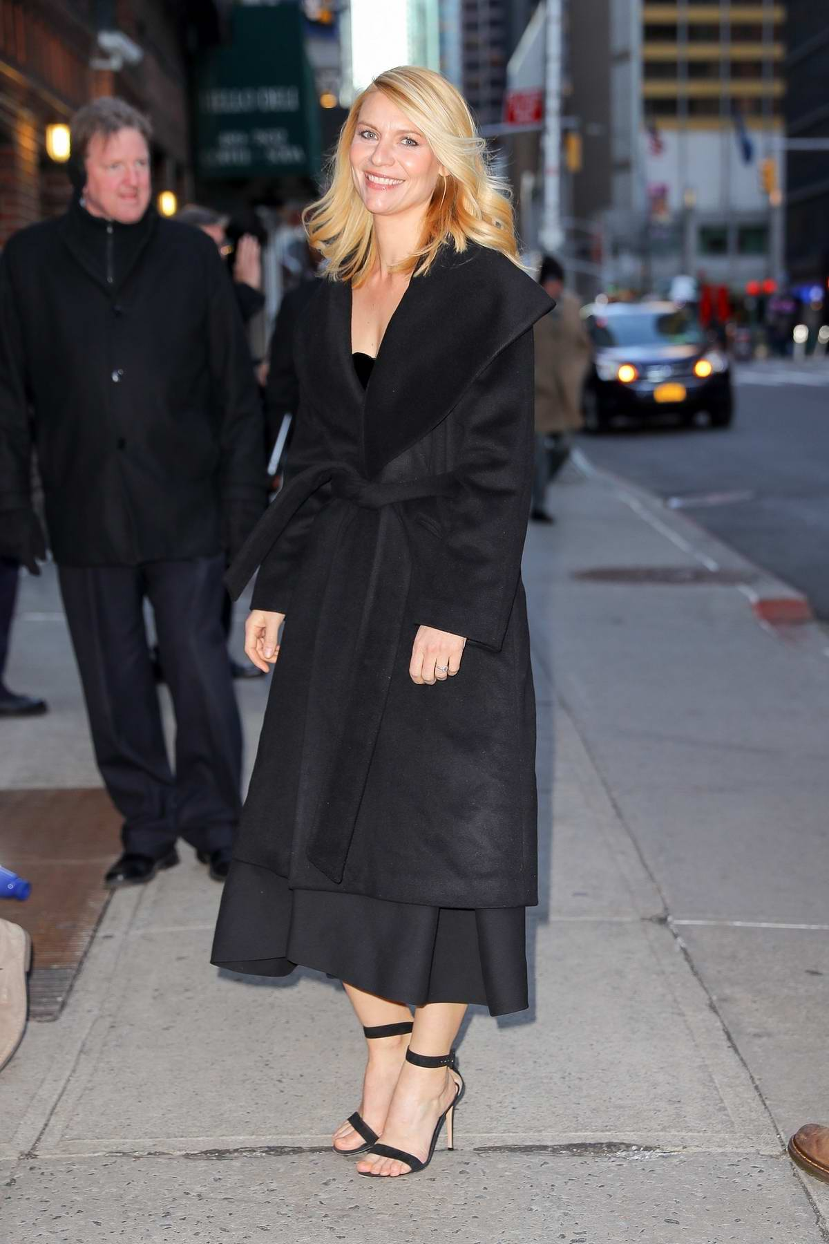 Claire Danes keeps it chic in all black at 'The Late Show with Stephen Colbert' in New York City