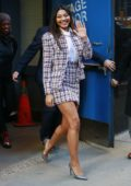 Danielle Herrington waves for the cameras as she leaves Good Morning America studios in New York City
