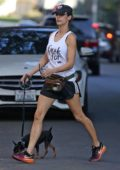 Elisabetta Canalis out for a hike with her dog at Runyon Canyon in Hollywood, Los Angeles