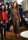Emily Ratajkowski wears a leopard print outfit as she heads out on a dinner date with Sebastian Bear-McClard at Cafe China in New York City