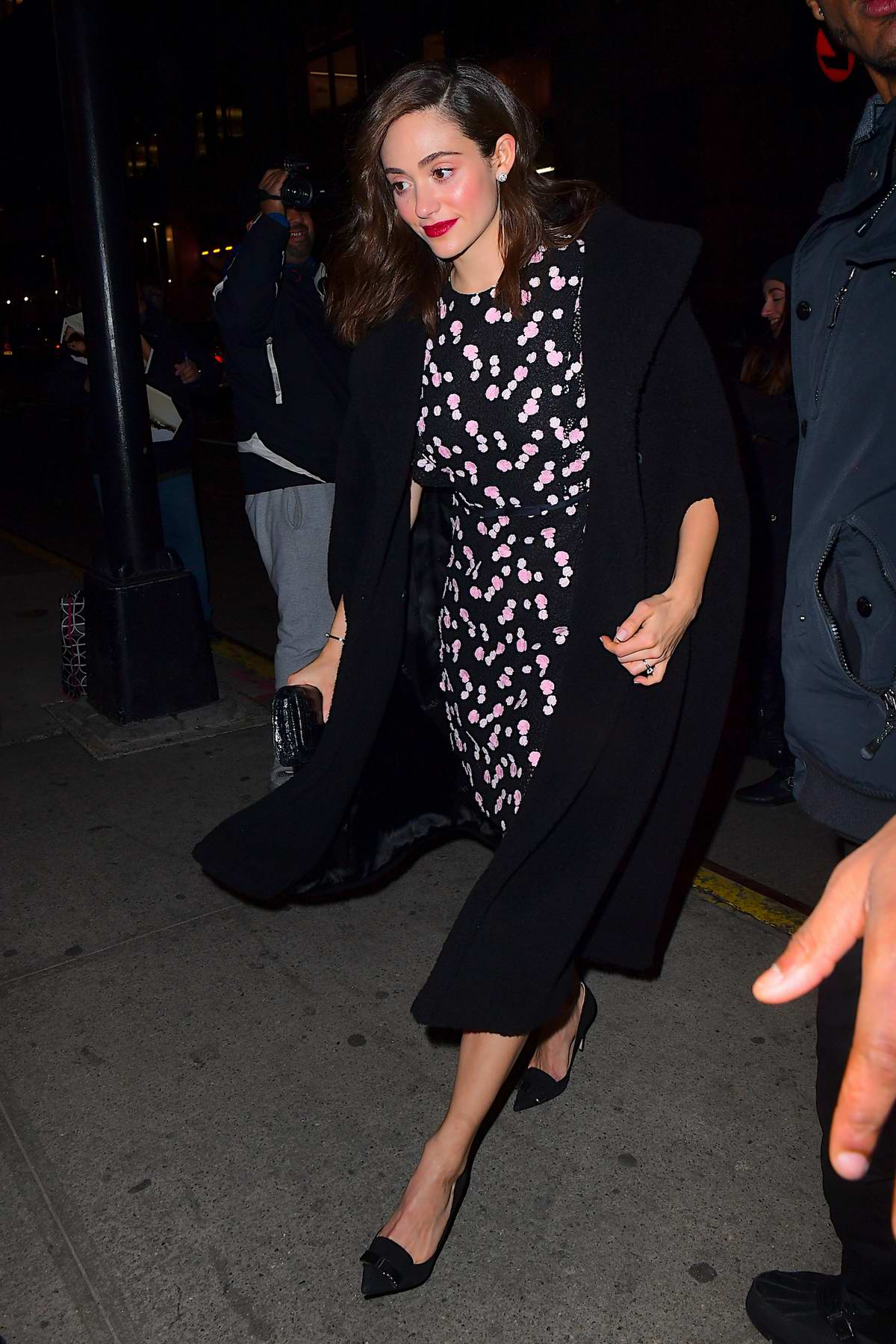 Emmy Rossum was spotted heading to a dinner at Tao in New York