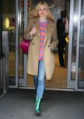 Fearne Cotton rocks shiny green boots as she leaves the BBC Radio 2 studios in London