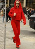 Gigi Hadid rocks an all red ensemble as she visits Louis Vuitton store in New York City