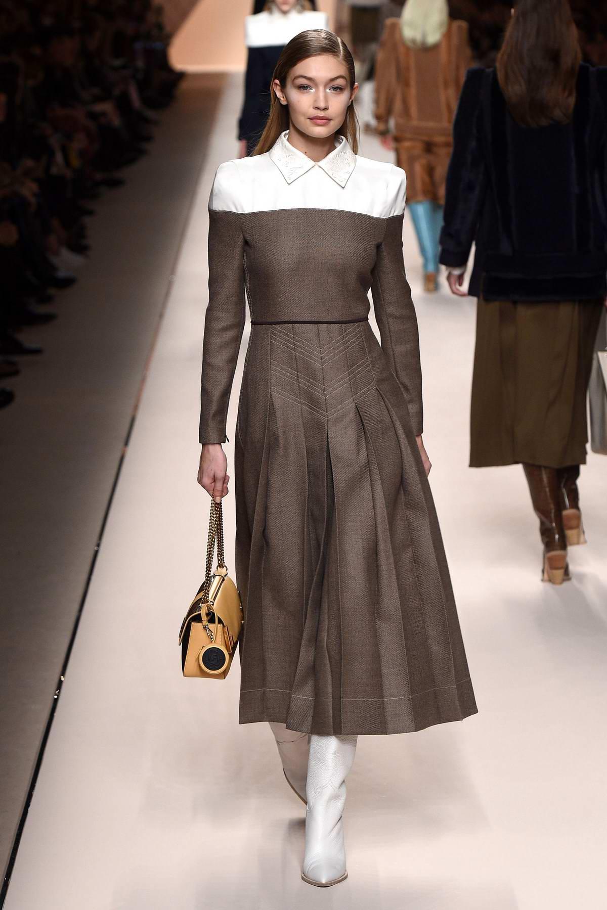Gigi Hadid walks for Fendi Show, Fall Winter 2018 during Milan Fashion Week in Milan, Italy