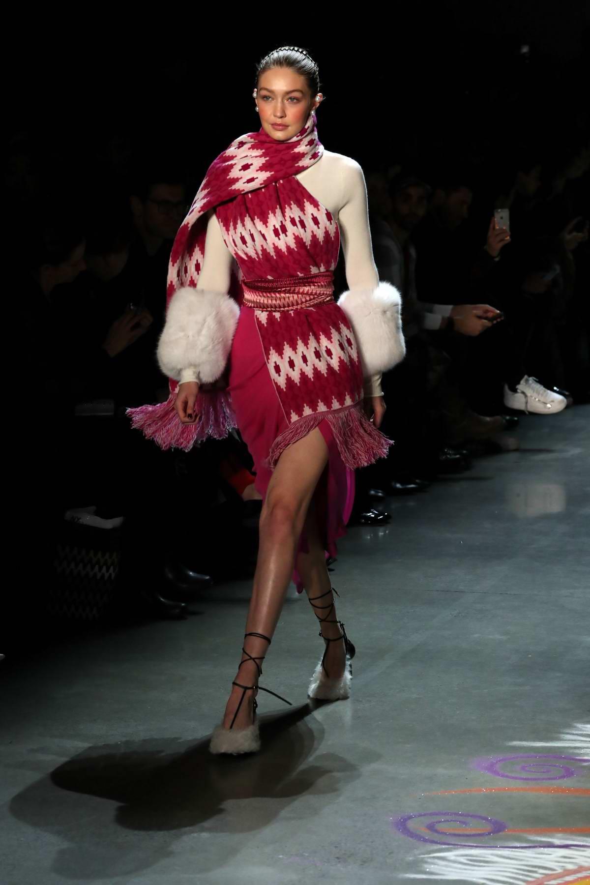 Gigi Hadid walks for Prabal Gurung Show, Fall/Winter 2018 during New York Fashion Week in New York City