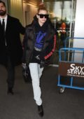 Hailey Baldwin arriving at Linate airport for Milan Fashion Week in Milan, Italy