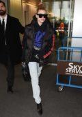 Hailey Baldwin arriving at Linate airport for Milan Fashion Week in Milan, Italy