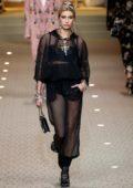 Hailey Baldwin walks for the Dolce & Gabbana Show, Fall Winter 2018 during Milan Fashion Week in Milan, Italy