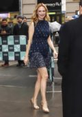 Heather Graham wears an elegant blue summer mini dress at AOL Build Series in Manhattan, New York City