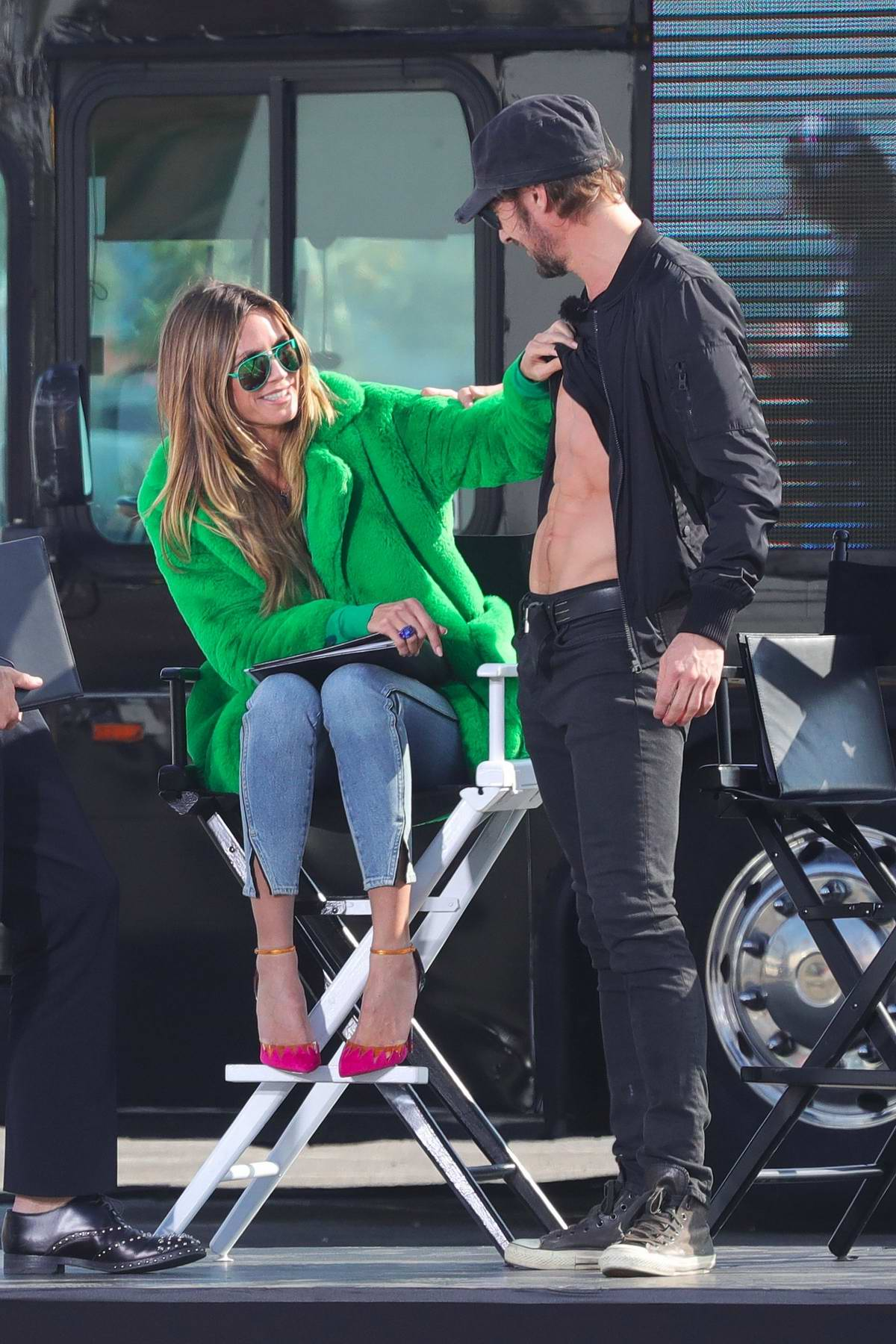 Heidi Klum spotted on the set of Germany's Next Top Model in Santa Monica, California