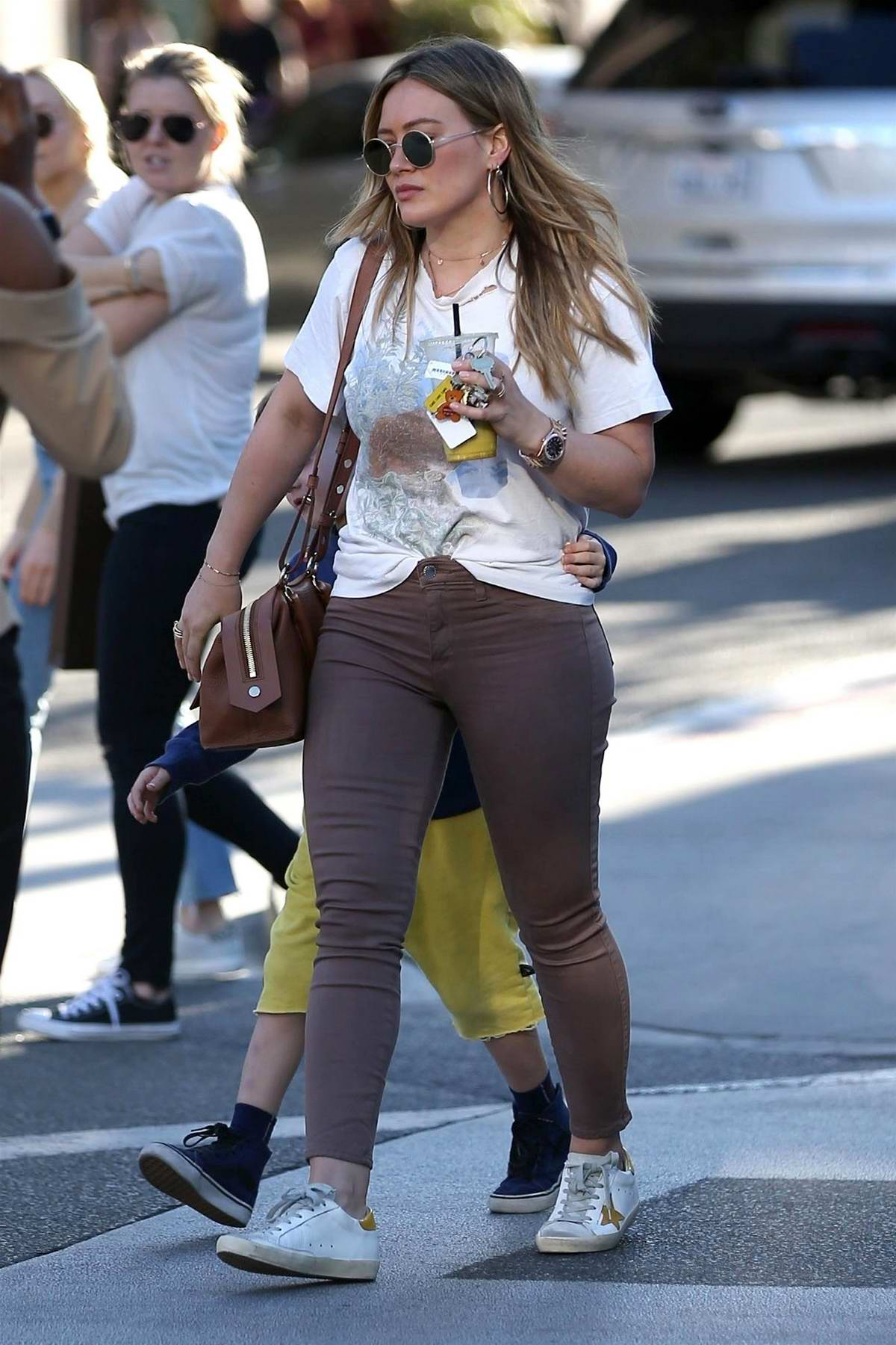 Hilary Duff and her son spotted out shopping with friends in Beverly Hills, Los Angeles