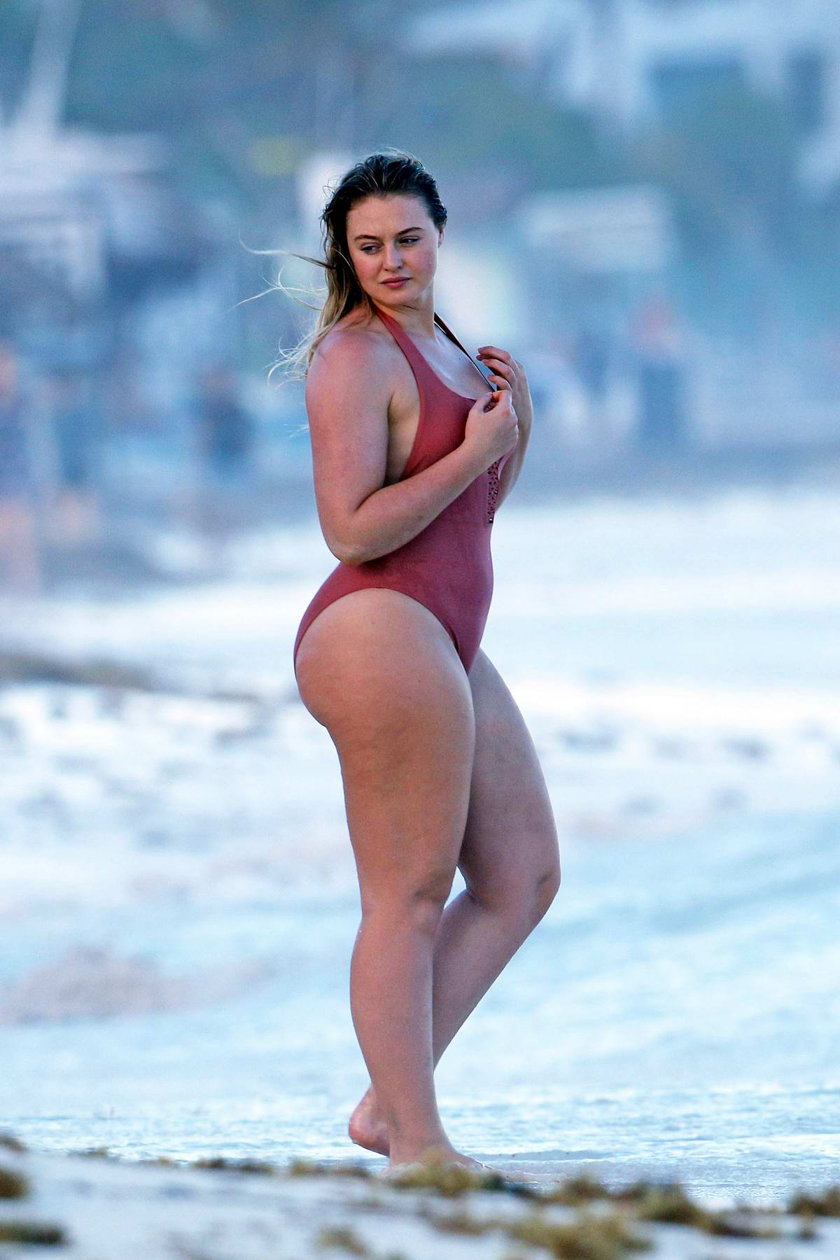 Iskra Lawrence looks stunning in a swimsuit while the beach in Tulum, Mexico