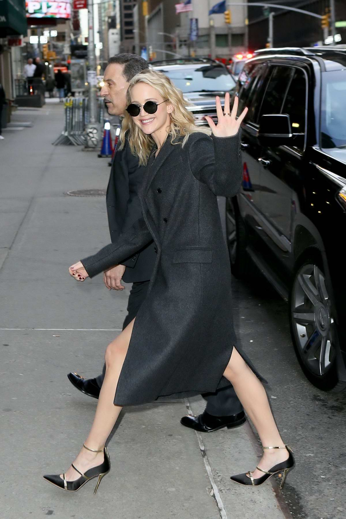 Jennifer Lawrence arriving for an appearance on 'The Late Show with Stephen Colbert' in New York City