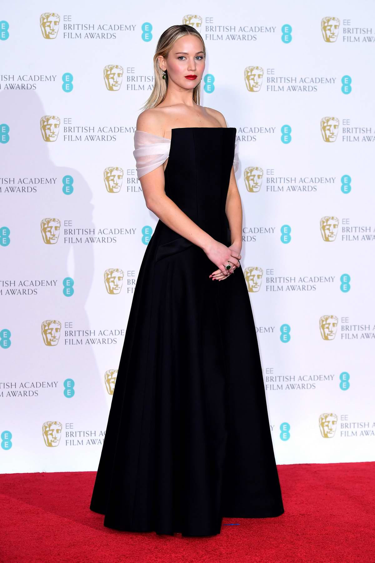 Jennifer Lawrence attends 71st British Academy Film Awards at Royal Albert Hall in London