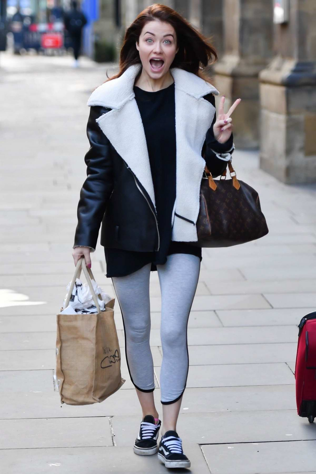 Jess Impiazzi spotted as she leaves her hotel in Manchester, UK