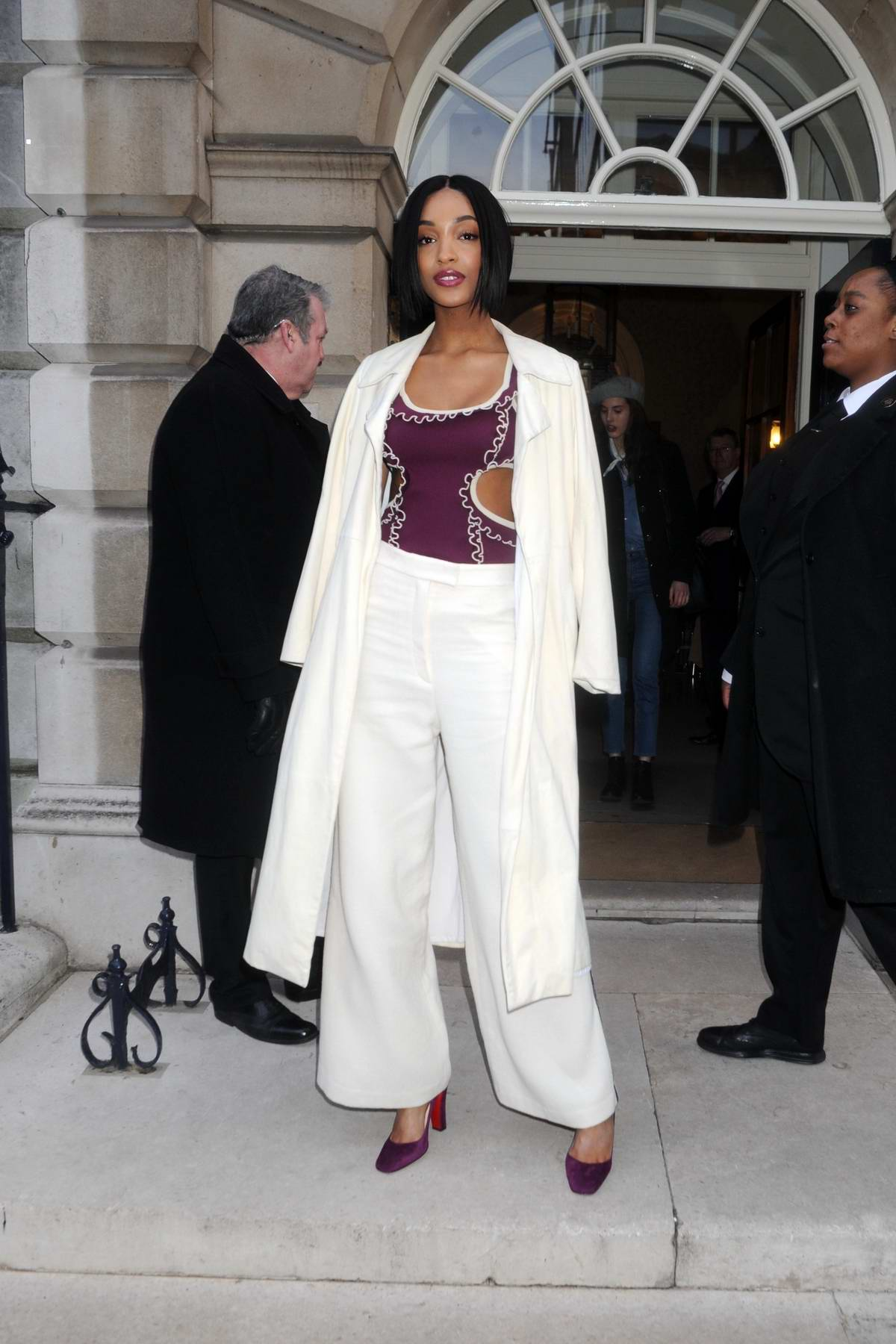 Jourdan Dunn spotted as she leaves Mulberry runway LFW 2018 at Spencer House in London