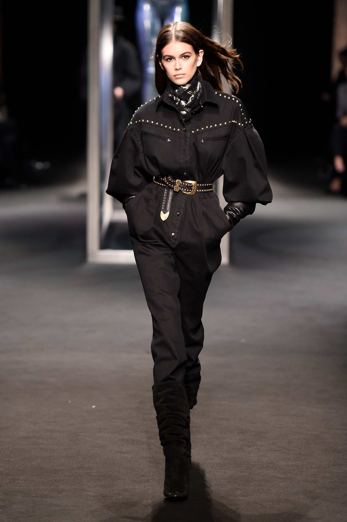 Kaia Gerber walking for Alberta Ferretti Fall Winter Show during Milan Fashion Week in Milan, Italy