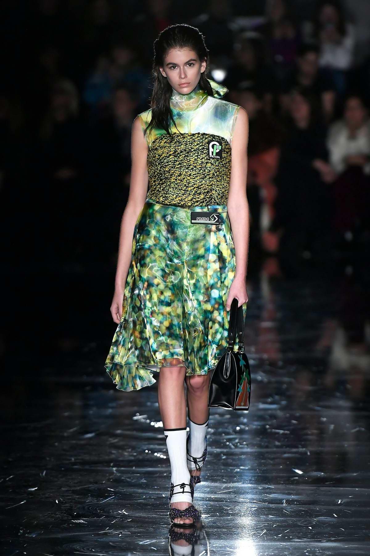 Kaia Gerber walks for Prada Show, Fall Winter 2018 during Milan Fashion Week in Milan, Italy