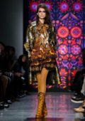 Kaia Gerber walks for the Anna Sui Show, Fall Winter 2018 during New York Fashion Week in New York City