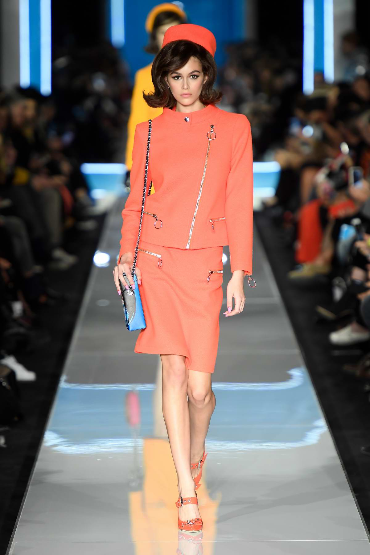 Kaia gerber walks the runway at the moschino show during for Milan fashion school