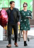 Kelly Brook shops for flowers and chocolates while out with boyfriend Jeremy Parisi on Valentine's Day