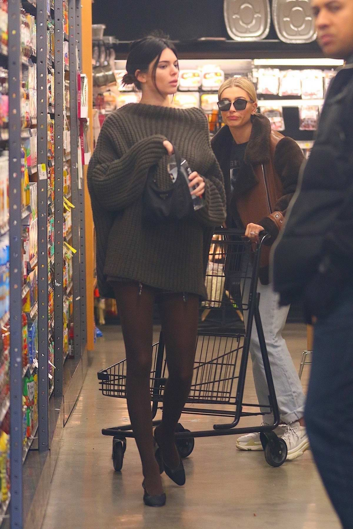 Kendall Jenner and Hailey Baldwin spotted while shopping groceries in New York City