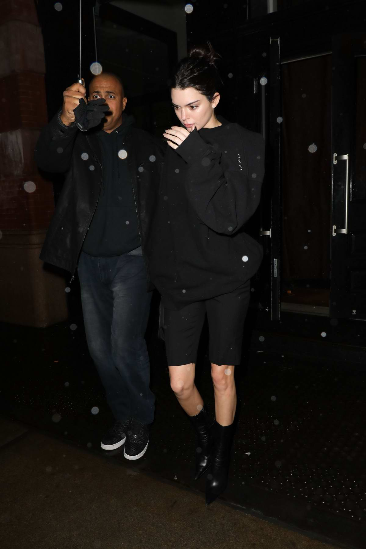 Kendall Jenner leaving Mercer Hotel as she heads to Alexander Wang Show during New York Fashion Week in New York City