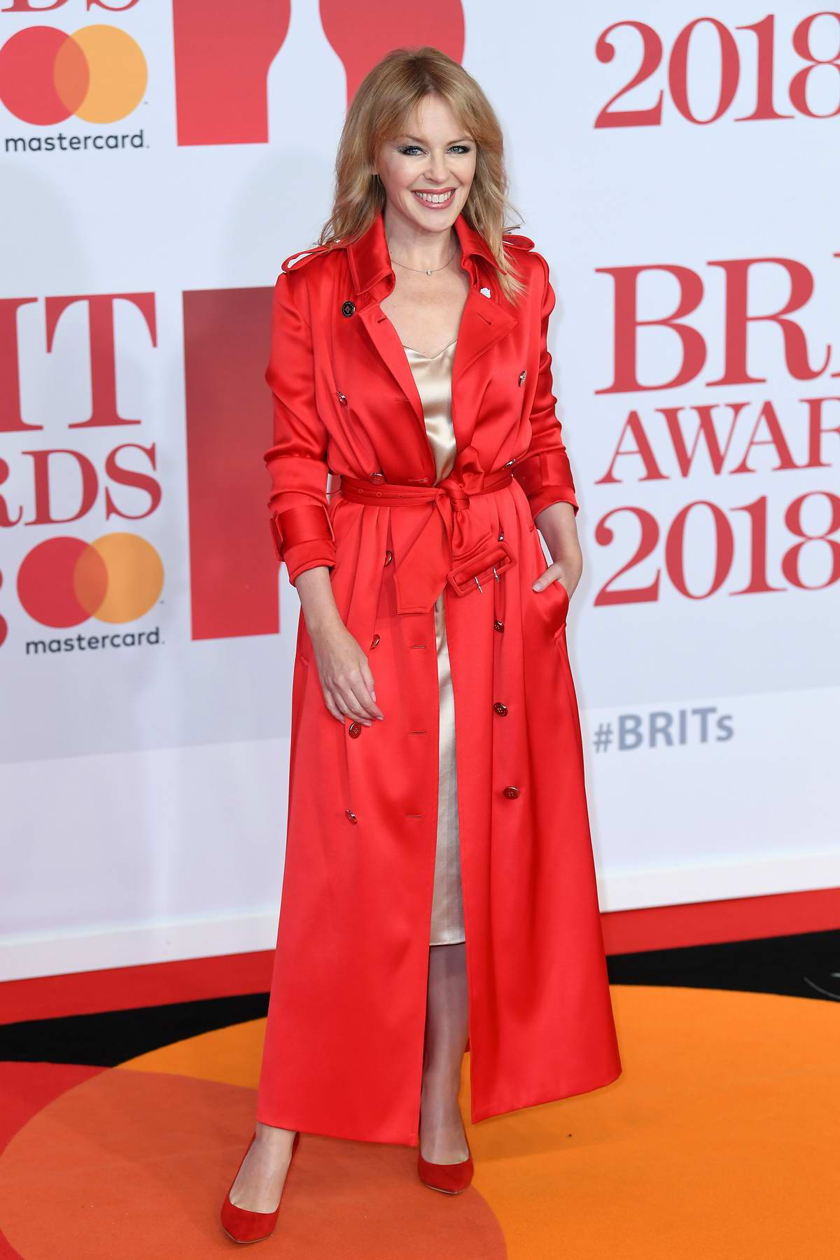 Kylie Minogue attends the 38th Brit Awards, held at the O2 Arena in London