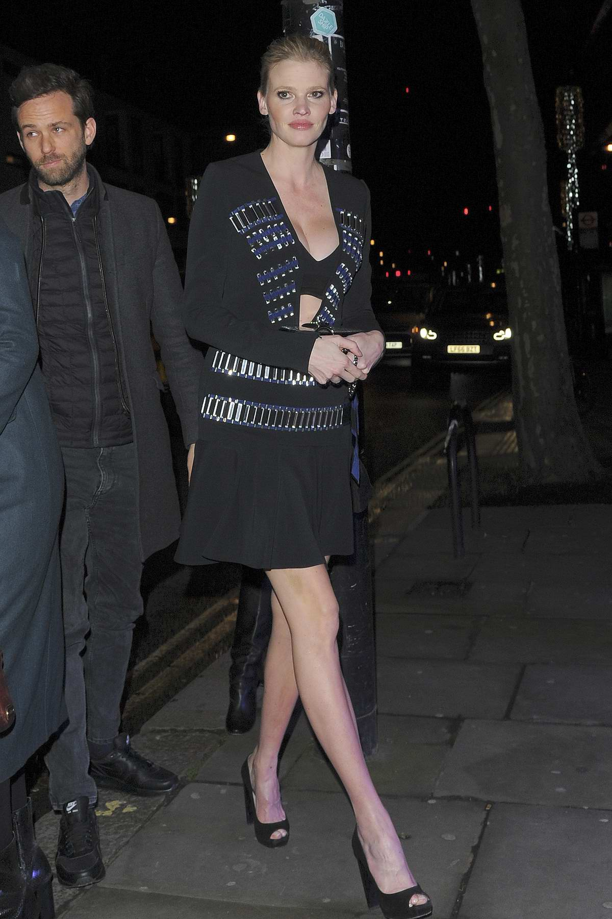 Lara Stone arrives for Fabulous Fund Fair during London Fashion Week at The Roundhouse in London