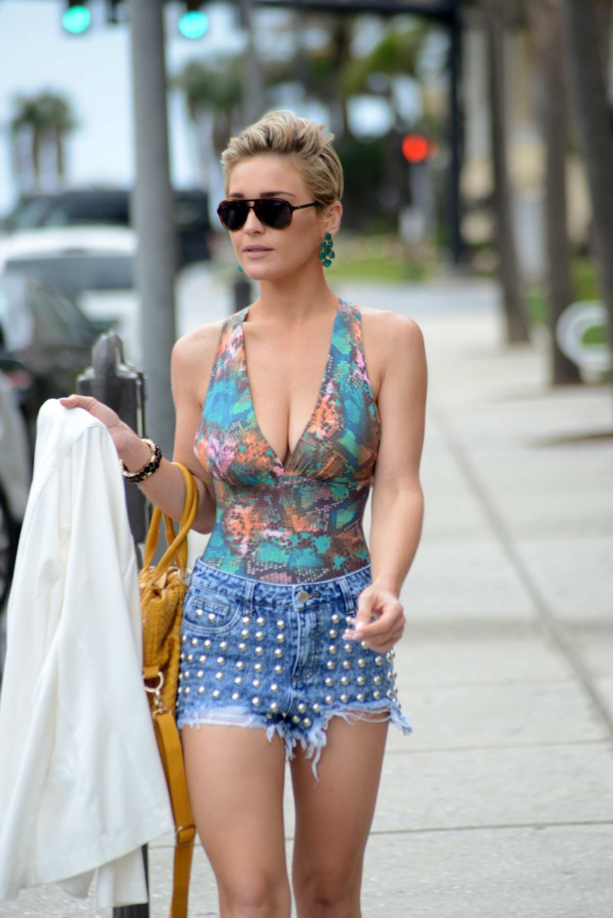 Lauren Hubbard stepped out in a colorful top and daisy dukes while shopping in Miami, Florida