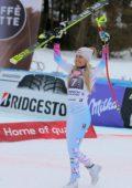Lindsey Vonn celebrates her win at FIS Alpine Ski World Cup, downhill in Garmisch-Partenkirchen, Germany