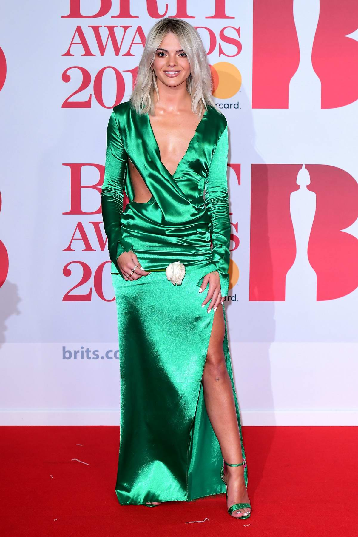 Louisa Johnson attends the 38th Brit Awards, held at the O2 Arena in London