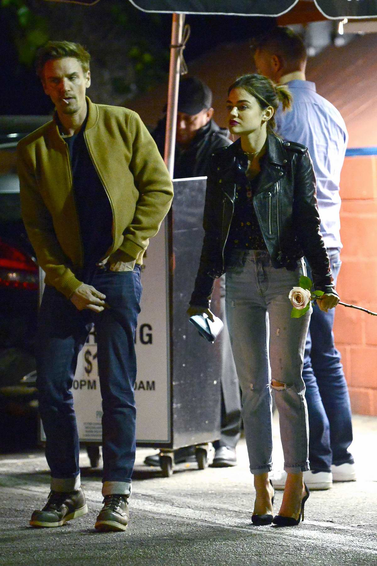 Lucy Hale packs on the PDA with a mystery guy after a Valentine's dinner in Los Angeles
