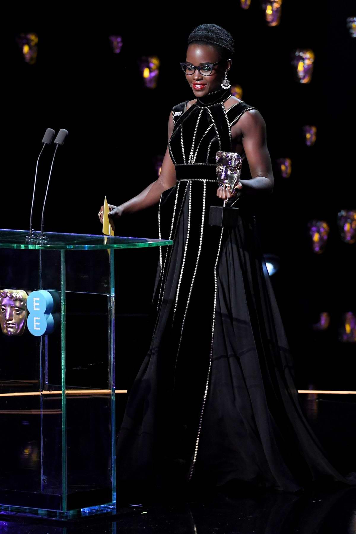 Lupita Nyong'o attends 71st British Academy Film Awards at Royal Albert Hall in London